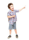 A little excited boy pointing at Royalty Free Stock Photo