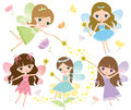 Little fairies in colorful dress with watercolor wings, magic wand and flowers Vector Royalty Free Stock Photo