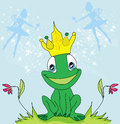 Little fairies and frog illustration Stock Images