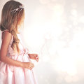 Little fairy beautiful girl wearing costume with magic wand Stock Image