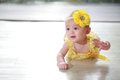 Little fairy crawling on floor Royalty Free Stock Photo