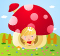 Little fairy in mushroom house illustration of Stock Photo