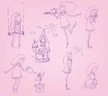 Little fairy set of vector sketches Royalty Free Stock Photography