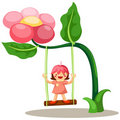 Little fairy on swing Stock Photo