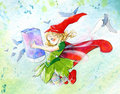 Little fairy - Watercolor illustration Stock Image