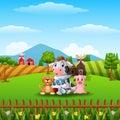 Little farm animals at hills