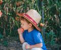 Little farmer cute boy holding tomato Royalty Free Stock Photography