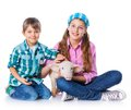 Little farmers cute gir and boyl with pig isolated on white background Royalty Free Stock Photography