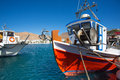 Little fishers boats in Folegandros, Greece Royalty Free Stock Photos