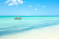 Little fishing boat in the caribbean sea on Aruba island Royalty Free Stock Photo