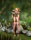 Little forest goblin d cg computer graphics of a sitting on a stone Stock Images