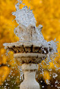 Little fountain on the background of autumn leaves Royalty Free Stock Photo