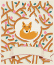 Little fox in a forest card design cute brown depicted by intertwining branches with leaves pretty with swirling ribbon Royalty Free Stock Photo