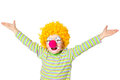 Little funny clown on white backgound Royalty Free Stock Image