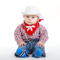 Little funny cowboy on white background Royalty Free Stock Photo