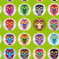 Little funny owls on green background. seamless pattern Vector