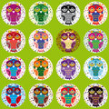 Little funny owls on green background. Vector