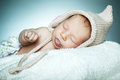 Little funny sleepeng baby cute with hat Royalty Free Stock Images