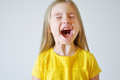 Little funny toddler girl screaming Royalty Free Stock Photo