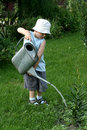 Little gardener boy Stock Photography
