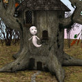 Little ghost d digital render of a cute near a fairytale house in a magical woodland Royalty Free Stock Photography