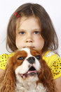 Little girl 5 years old and the dog isolated Stock Photography