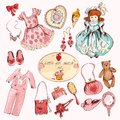 Little girl accessories colored items set Royalty Free Stock Photo