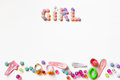 Little girl accessories lifestyle set on  white Royalty Free Stock Photo