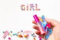 Little girl accessories lifestyle set. Royalty Free Stock Photo