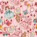 Little girl accessories seamless pattern Royalty Free Stock Photo