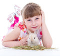 Little girl with adorable rabbit pet child portrait of happy isolated on white background Stock Images