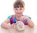 Little girl with adorable rabbit pet child portrait of happy isolated on white background Stock Photo
