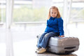 Little girl at airport Royalty Free Stock Image