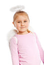 Little girl in angel costume. Royalty Free Stock Photo