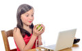 A little girl with an apple Royalty Free Stock Photo