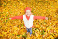 Little girl with autumn leaves Royalty Free Stock Image