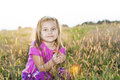 Little girl autumn portrait happy in beautiful fall light Royalty Free Stock Images