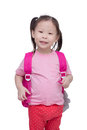 Little girl with backpack isolated over white Royalty Free Stock Photo
