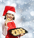 Little girl baking Christmas cookies Royalty Free Stock Photo