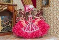 Little girl in a ball gown beautiful old and hat with feathers Stock Images