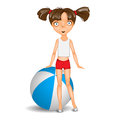 Little girl with ball isolated wearing shorts and t shirt Royalty Free Stock Photography