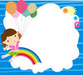 Little girl and balloon illustration of Stock Photography