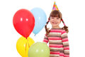 Little girl with balloons birthday party happy Royalty Free Stock Images