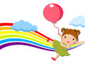Little girl with balloons illustration of Royalty Free Stock Images