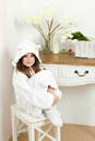 Little girl in a bathrobe with ears Royalty Free Stock Image
