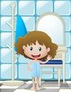 Little girl in bathtowel waving hand
