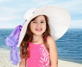 Little Girl in Beach Hat Portrait Stock Photo