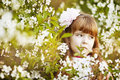 Little girl in a beautiful dress lush garden Stock Images
