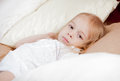 Little girl in bed Royalty Free Stock Photo