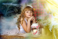 Little girl being happy about christmas present story Royalty Free Stock Photos